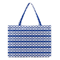 Circles Lines Blue White Pattern  Medium Tote Bag by BrightVibesDesign