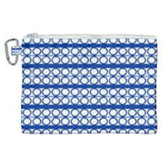Circles Lines Blue White Pattern  Canvas Cosmetic Bag (xl) by BrightVibesDesign