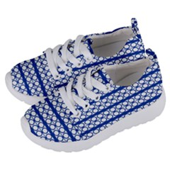 Circles Lines Blue White Pattern  Kids  Lightweight Sports Shoes by BrightVibesDesign