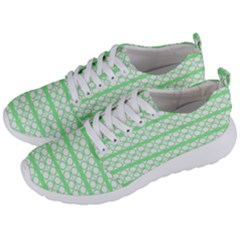 Circles Lines Green White Pattern Men s Lightweight Sports Shoes by BrightVibesDesign