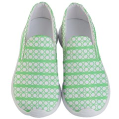 Circles Lines Green White Pattern Men s Lightweight Slip Ons by BrightVibesDesign