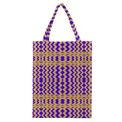 Purple Yellow Wavey Lines Classic Tote Bag by BrightVibesDesign