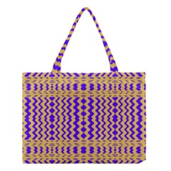 Purple Yellow Wavey Lines Medium Tote Bag by BrightVibesDesign
