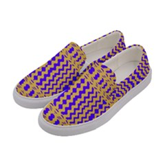 Purple Yellow Wavey Lines Women s Canvas Slip Ons by BrightVibesDesign
