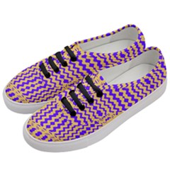 Purple Yellow Wavey Lines Women s Classic Low Top Sneakers by BrightVibesDesign