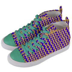 Purple Yellow Wavey Lines Women s Mid Top Canvas Sneakers by BrightVibesDesign
