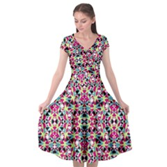 Multicolored Abstract Geometric Pattern Cap Sleeve Wrap Front Dress