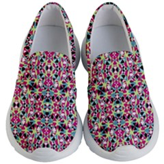 Multicolored Abstract Geometric Pattern Kid s Lightweight Slip Ons by dflcprints