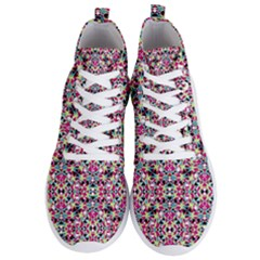 Multicolored Abstract Geometric Pattern Men s Lightweight High Top Sneakers