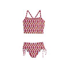 Eye Dots Red Pastel Girls  Tankini Swimsuit