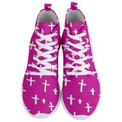 Pink White Cross Men s Lightweight High Top Sneakers