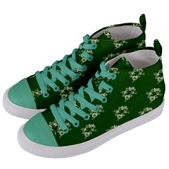 Canal Flowers Cream On Green Bywhacky Women s Mid Top Canvas Sneakers by bywhacky