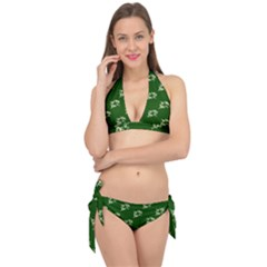Canal Flowers Cream On Green Bywhacky Tie It Up Bikini Set