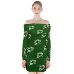 Canal Flowers Cream On Green Bywhacky Long Sleeve Off Shoulder Dress