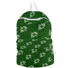 Canal Flowers Cream On Green Bywhacky Foldable Lightweight Backpack