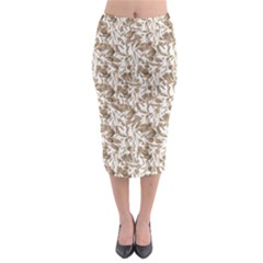 Leaves Texture Pattern Midi Pencil Skirt by dflcprints
