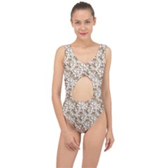 Leaves Texture Pattern Center Cut Out Swimsuit