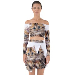 Kitten Mammal Animal Young Cat Off Shoulder Top With Skirt Set