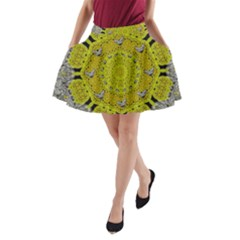 Sunshine And Silver Hearts In Love A Line Pocket Skirt
