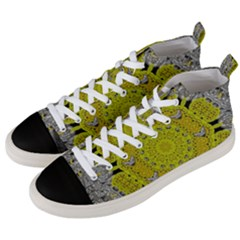 Sunshine And Silver Hearts In Love Men s Mid Top Canvas Sneakers by pepitasart