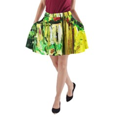 Old Tree And House With An Arch 4 A Line Pocket Skirt by bestdesignintheworld