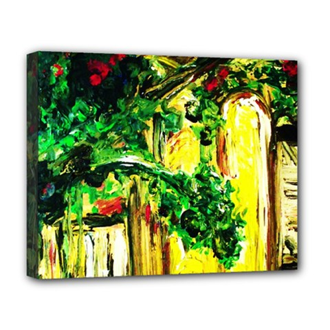 Old Tree And House With An Arch 2 Deluxe Canvas 20  X 16   by bestdesignintheworld