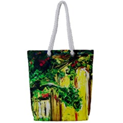 Old Tree And House With An Arch 2 Full Print Rope Handle Tote (small)