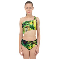 Old Tree And House With An Arch 2 Spliced Up Two Piece Swimsuit