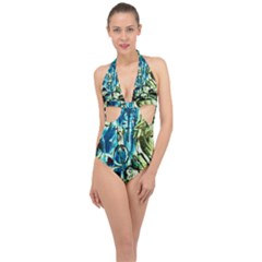 Clocls And Watches 3 Halter Front Plunge Swimsuit