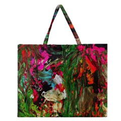 Sunset In A Mountains 1 Zipper Large Tote Bag by bestdesignintheworld