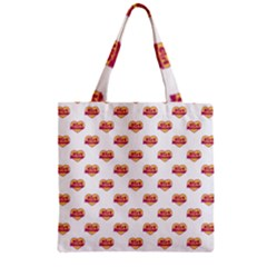 Girl Power Logo Pattern Zipper Grocery Tote Bag by dflcprints