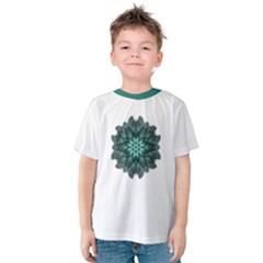 Emerald Dahlia Flower Mandala Kids  Cotton Tee