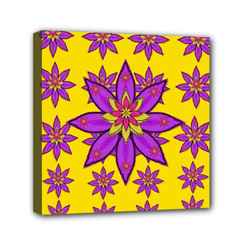 Fantasy Big Flowers In The Happy Jungle Of Love Mini Canvas 6  X 6  by pepitasart