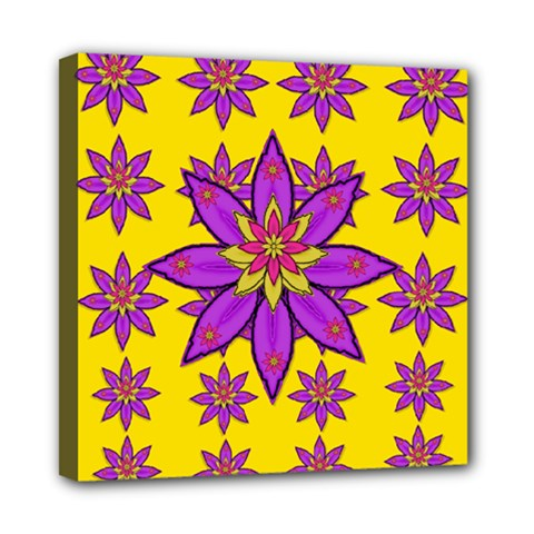 Fantasy Big Flowers In The Happy Jungle Of Love Mini Canvas 8  X 8  by pepitasart