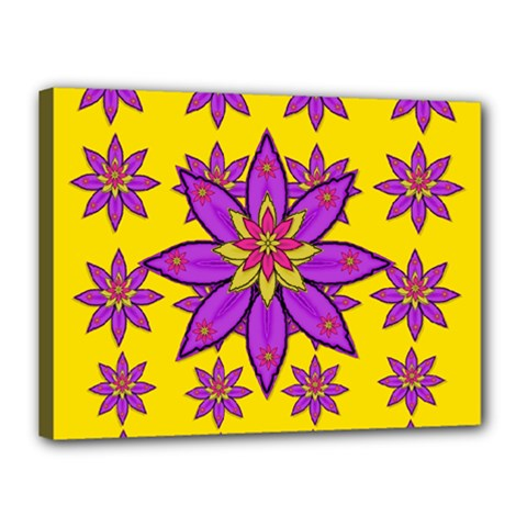 Fantasy Big Flowers In The Happy Jungle Of Love Canvas 16  X 12  by pepitasart