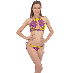 Fantasy Big Flowers In The Happy Jungle Of Love Cross Front Halter Bikini Set