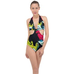 Buffalo Vision Halter Front Plunge Swimsuit