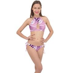 Rose  Cross Front Halter Bikini Set