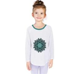 Emerald Flower Mandala Kids  Long Sleeve Tee