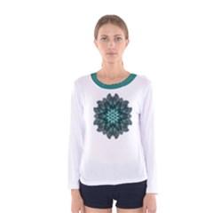 Emerald Dahlia Flower Mandala Women s Long Sleeve Tee