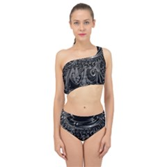 Black And Grey Pattern Cube Spliced Up Two Piece Swimsuit