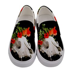 Animal Skull With A Wreath Of Wild Flower Women s Canvas Slip Ons