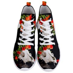Animal Skull With A Wreath Of Wild Flower Men s Lightweight High Top Sneakers
