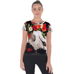 Animal Skull With A Wreath Of Wild Flower Short Sleeve Sports Top