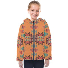Misc Shapes On An Orange Background                                   Kids  Hooded Puffer Jacket
