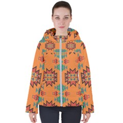 Misc Shapes On An Orange Background                                   Women s Hooded Puffer Jacket