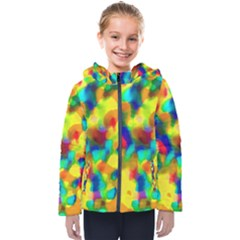 Colorful Watercolors Texture                                   Kids  Hooded Puffer Jacket