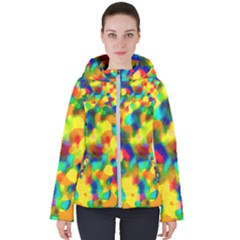 Colorful Watercolors Texture                                   Women s Hooded Puffer Jacket