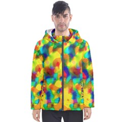 Colorful Watercolors Texture                                    Men s Hooded Puffer Jacket