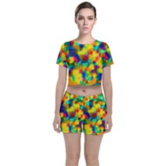 Colorful Watercolors Texture                              Crop Top And Shorts Co Ord Set